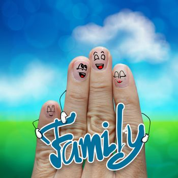 Finger family travels at the beach and family word as concept