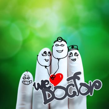 lovely couple hand drawn and finger,doctor and nurse with green nature background as concept