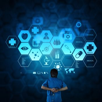 Medicine doctor working with modern computer as medical concept