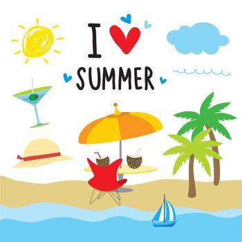 Summer Beach Holiday Cartoon vector illustration.