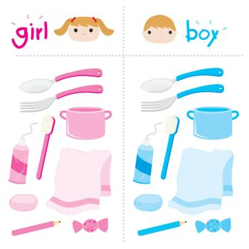 Set of Kids accessories and item Object for Boy and Girl Appliance, Cartoon Character Vector.
