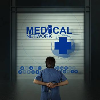 Medicine doctor working with modern computer as medical network concept