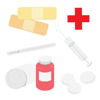 Set of Medical Equipment in Hospital Plaster Bandage Syringe Thermometer and Cotton Wool Cartoon Vector