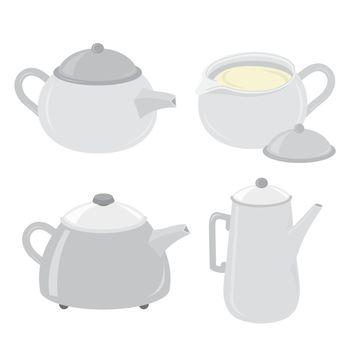 Teapot Pitcher Kettle and Jug Cartoon Vector