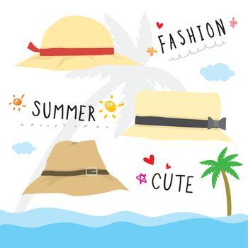 Beach hat Fashion in Summer Cartoon Vector