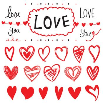 Set of Love and Heart drawing design element Cartoon Vector