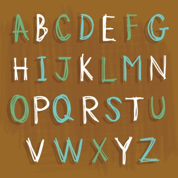 Alphabet font English Language Character Draw Cartoon Design Vector