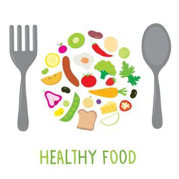Fruit Vegetable Healthy Food Cook Ingredient Nutrient cartoon vector