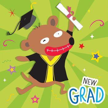Congratulation New Graduate of Dog Animal Cute Cartoon Vector