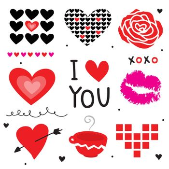 Red Heart and Love element icon and symbol in Valentine's Day vector