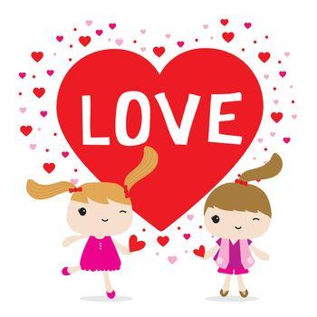 Love Girl Cute Cartoon Character Vector
