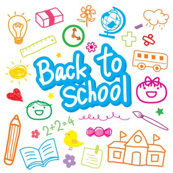 Set of Back to School and Stationery Object Icon Drawing Vector.