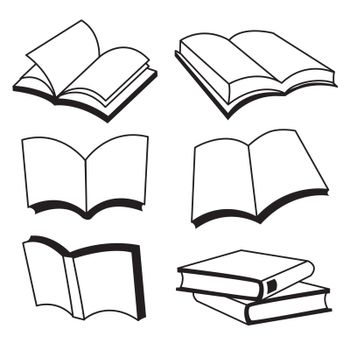 Book cover with white paper open and closed book icon Vector