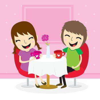 Boy and girl sweetheart meeting at shop cute cartoon vector