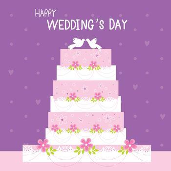 Wedding cake with flower and love heart cartoon Vector