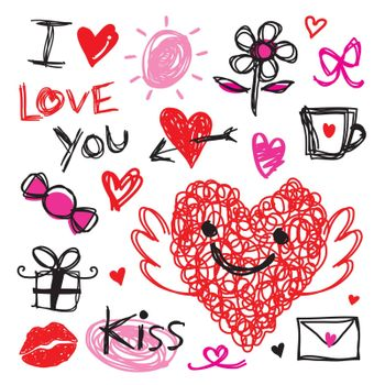 Draw Red Heart and Love element icon and symbol in Valentine's Day vector