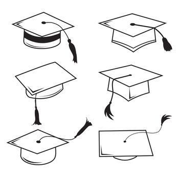 Congratulations Hat Graduation Line Icon Symbol Vector
