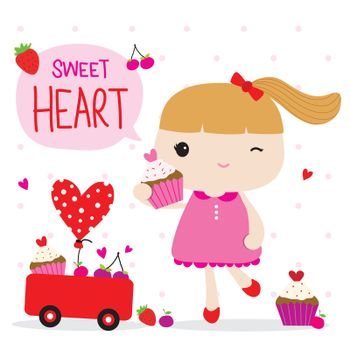 Kid Girl Cartoon with Heart and Love element in Valentine's Day vector