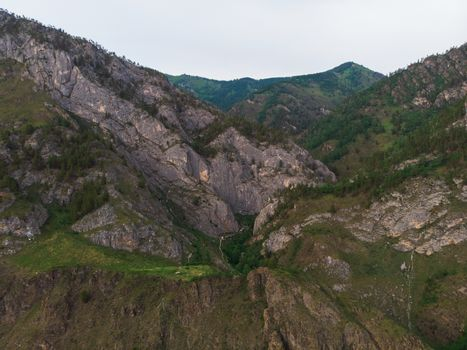 Beauty day in the mountains in Altay. place is called - Spirit Gorge. Aerial shot on drone
