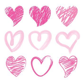 Collection of Draw Heart Love element icon and symbol vector