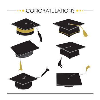 Congratulations Hat Graduation Icon and Symbol Vector