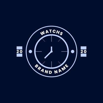 flat badge logo design. watch brand logo. modern and vintage styles