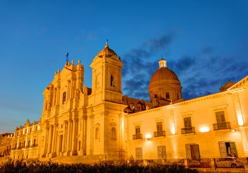 The cathedral of Noto in Sicily at night