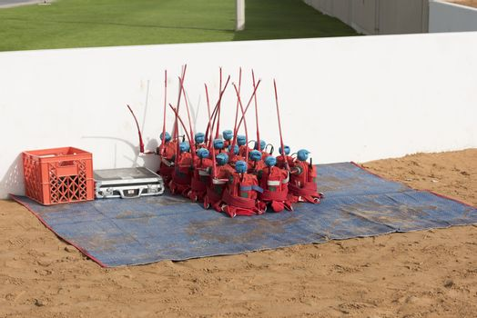 Dubai, United Arab Emirates,  Robots use as a jockeys for Camels races. Dubai, United Arab Emirates, Camel head at Al Murmoom Camel Racing Club.