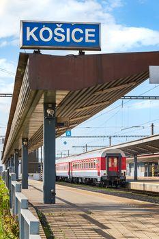 KOSICE, SLOVAKIA – MAY 1 2019: Second class coach (car) still by platform at Main railway station in Kosice (Slovakia)