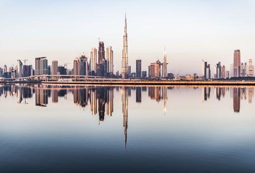 Dubai, United Arab Emirates. January 19th, 2018. clear weather on Dubai at sunrise United Arab Emirates