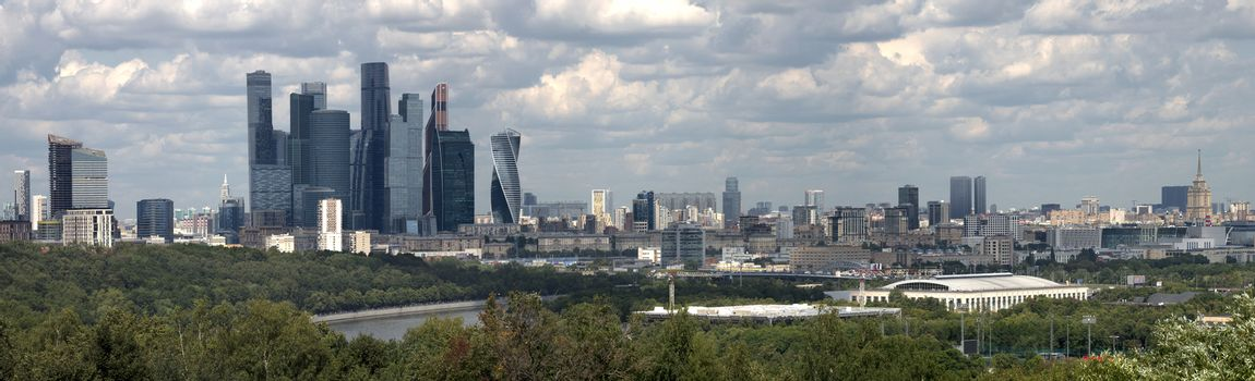 Moscow, Russia, panoramic view on city on against cloudy sky.