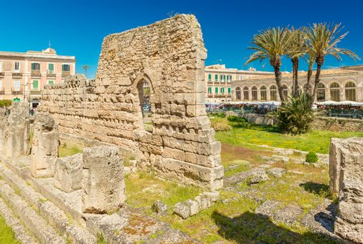 The Temple of Apollo on Ortygia (Ortigia) Island. Importatnt ancient Greek monument in Syracuse, Sicily, Italy