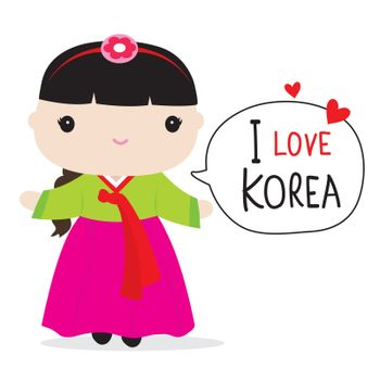 Korean People in national dress and traditional costume Cartoon Vector