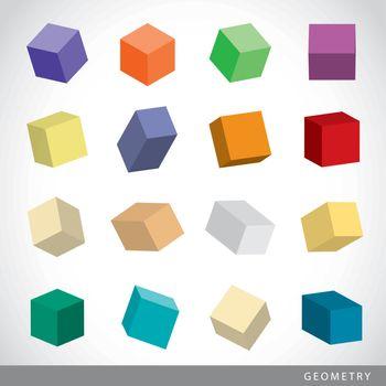 Set of 3D Geometric shapes, solids element vector illustration.