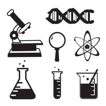 Chemical laboratory and Scientific equipment technology silhouette icon vector
