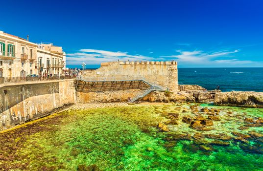 View of Ortygia (Ortigia) and The Forte Vigliena, Syracuse. Sicily, Italy. Picturesque cityscape of the famous Sicilian City