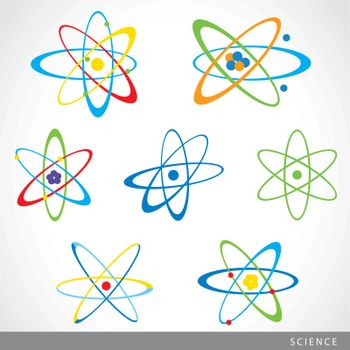 Molecule atom symbol and chemistry science icon vector