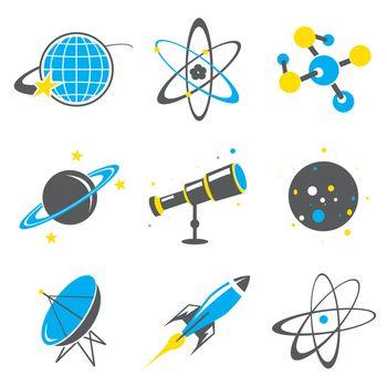Space universe planet satellite telescope star Rocket molecule atom flat icon vector