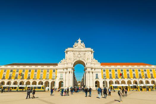 Lisbon - January 2019, Portugal: View of The Arco da Rua Augusta on Praça do Comércio in the center of Lisbon