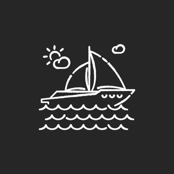 Yachting chalk white icon on black background