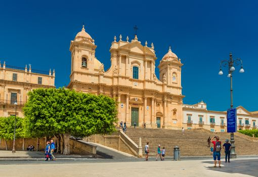Noto - April 2019, Sicily, Italy: View of The Noto Cathedral, baroque architectural style