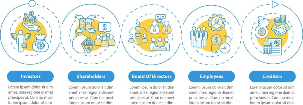 People involved in corporation vector infographic template