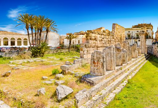 Syracuse - April 2019, Sicily, Italy: The Temple of Apollo in Ortygia Island, one of the major landmarks of the city