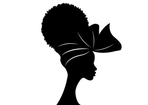 portrait beautiful African woman in traditional turban and Afro frizzy curly hair, black women vector silhouette isolated , logo design hairstyle concept