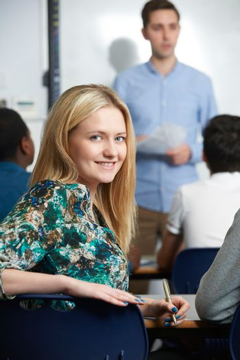 Female Teenage Student In Class