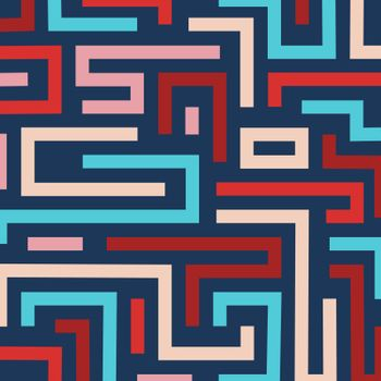 Colorful retro maze background. Vector format