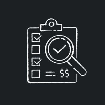 Inspection chalk white icon on black background