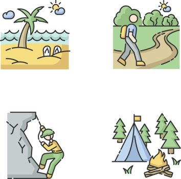 Outdoor recreation RGB color icons set