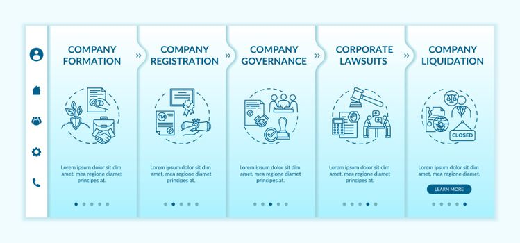 Corporation life cycle onboarding vector template