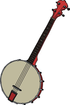 Red four strings banjo